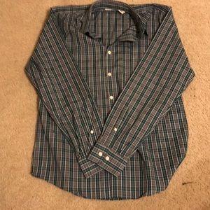 Dockers m green plaid long sleeve button up shirt